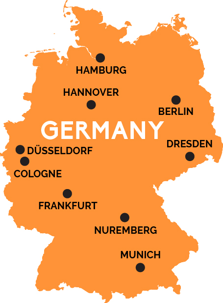Map Of Germany RailPasscom - Germany map with major cities