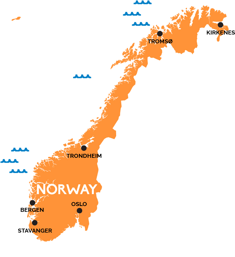 Map Of Norway RailPasscom - Norway map picture