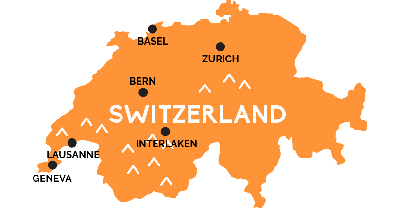 Map of Switzerland RailPasscom