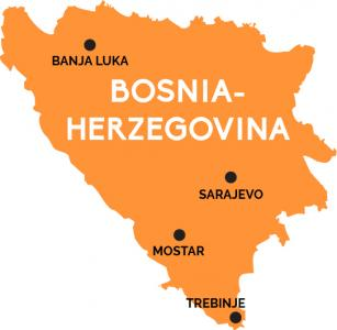 Map of Bosnia-Herzegovinia