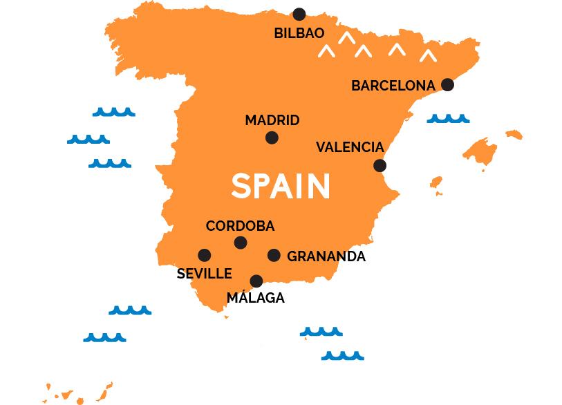 Maps Of Spain Map of Spain | RailPass.com